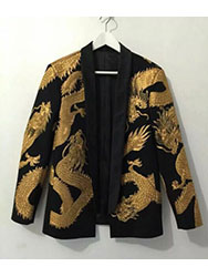 Black mens suit with dragon gold embroidery