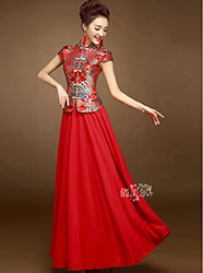 Red colorful brocade top and pure red skirt