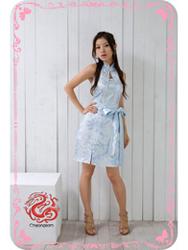 Light blue plum brocade halter qipao dress SMS47
