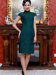 Dark green buttercup silk short dress
