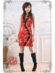 Red with golden plum modern cheongsam dress SMS07