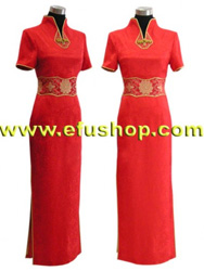 V collar red wedding cheongsam
