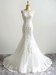 Fishtail boat neck wedding dress