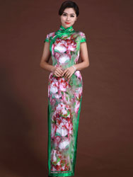 Flowers and wide piping cheongsam