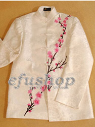 Chinese men's traditional jacket with pink plum blossom embroidery