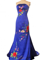 Royal blue silk fabric evening gown EGH85