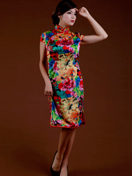 Colorful floral silk cheongsam dress SCS46