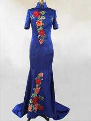 Royal blue silk fabric evening gown EGH86