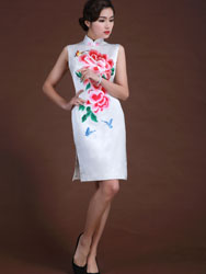 white silk with flowers short cheongsam