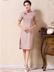 White-watermelon colors lattice short qipao dress