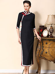 Dark blue wool cheongsam with lace piping