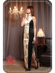 Ivory with black brocade dress SMS76