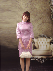 Lavender short cheongsam dress