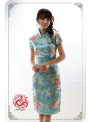 light blue cheongsam dress sms55
