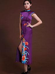 Purple silk with embroidery sleeveless cheongsam dress