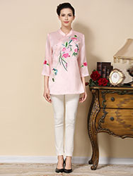 Pink satin Chinese blouse  with flowers embroidery