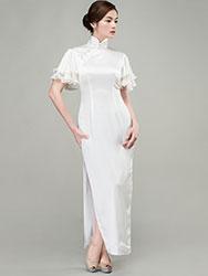 White long qipao dress whith Soft Chiffon frills Sleeves