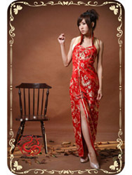 Red phoenix tail brocade sleeves qipao SMS72