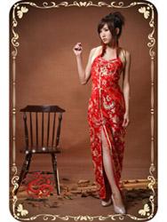 Red phoenix tail brocade sleeves qipao SMS72
