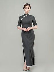 pearls trim long cheongsam dress