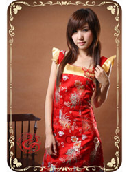Red mum brocade modern cheongsam dress SMS36