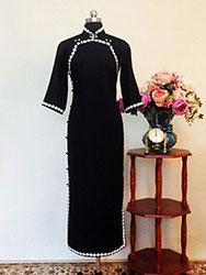 Black qipao dress with white trim