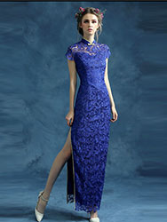 Blue lace cheongsam qipao dress