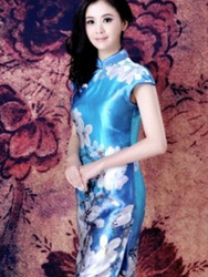 blue cheongsam