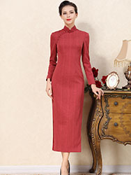 Light coral red cheongsam dress
