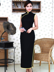 Black cotton long cheongsam