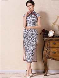 Silk blue-white porcelain cheongsam dress