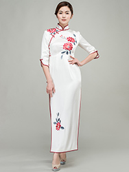 White long cheongsam dress with red floral embroidery