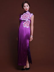 Handpainted peonies light purple silk cheongsam