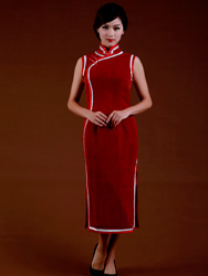 Jagged red Buttercup silk cheongsam