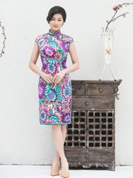 Silk daily cheongsam with flowers