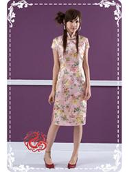 Pink peony brocade cheongsam dress SMS66
