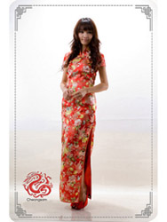 Red peony brocade cheongsam dress