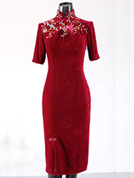 Wine red velour qipao with embroidery