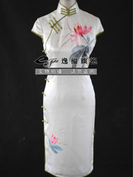 Ivory silk with lutos painting qipao SQH39