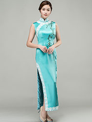 Light lake blue silk with embroidery choensam dress
