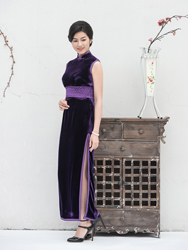 Long deep-purple chelongsam