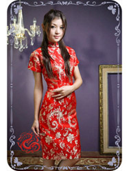 Red phoenix short sleeves qipao SMS35