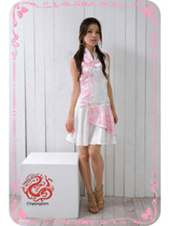 Phoenix tail with satin modern cheongsam dress SMS44