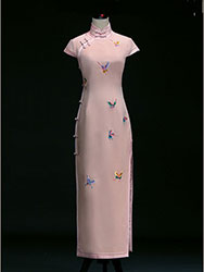 Pink traditional qipao dress with butterflies embroidery