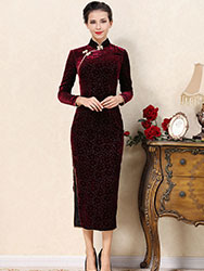 Wine red veleor cheongsam dress