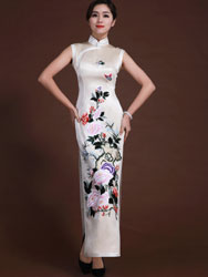 Beige silk  with embroidery cheongsam