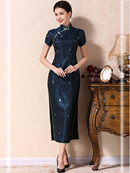 Dark blue long cheongsam dress