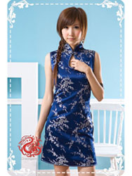 Navy blue plum cheongsam dress