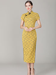 Thin yellow lace dress with black edge