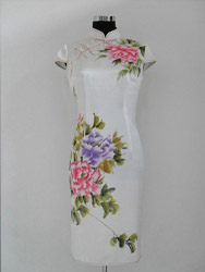 Ivory silk with peony painted cheongsam SQH38